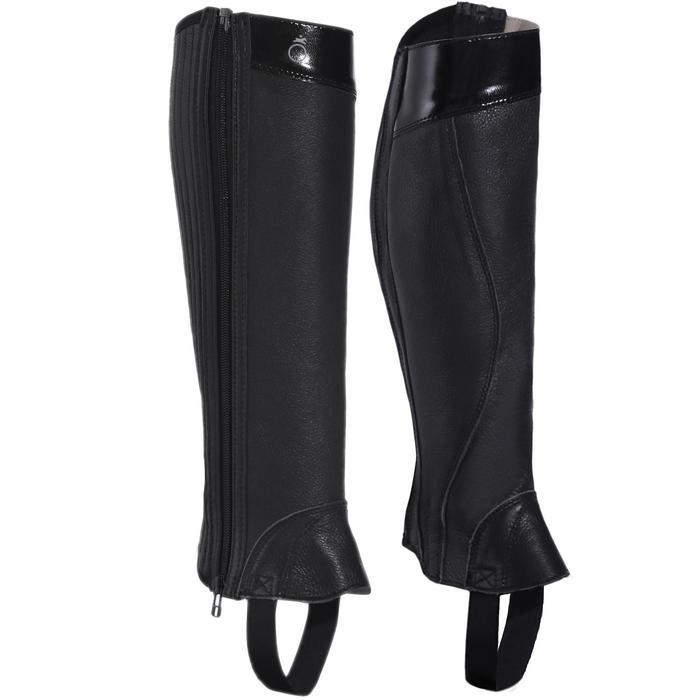 Mini-chaps équitation adulte BASIC 700 cuir noir - 177625