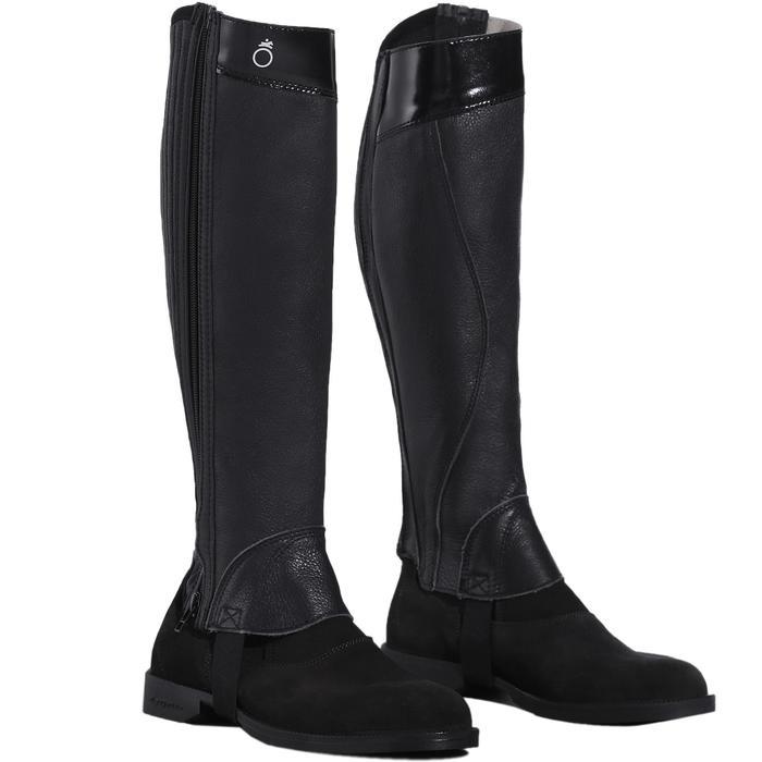 Mini-chaps équitation adulte BASIC 700 cuir noir - 177626