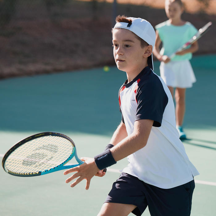 500 Kids' T-Shirt - White/Navy Blue