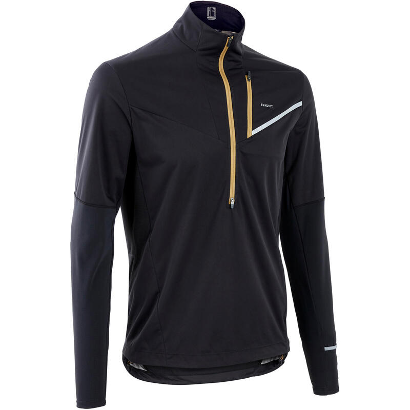 Maillot softshell manches longues trail running noir bronze homme
