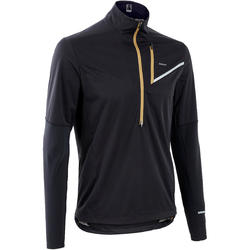 Maillot softshell manches longues trail running homme noir bronze