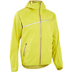 MEN'S WATERPROOF TRAIL RUNNING JACKET - GREEN/YELLOW