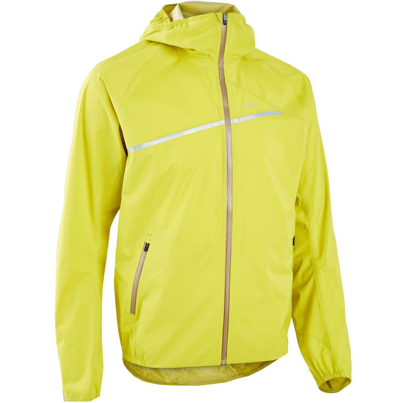 Chaqueta Trail Running Hombre Verde Amarillo Impermeable