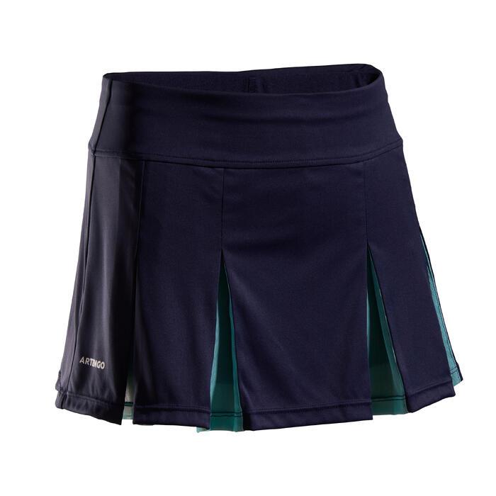 Tennisrokje 900 voor meisjes marineblauw/turquoise