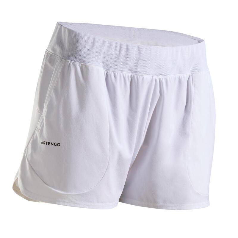 女款快乾網球短褲SH Dry 500-白色
