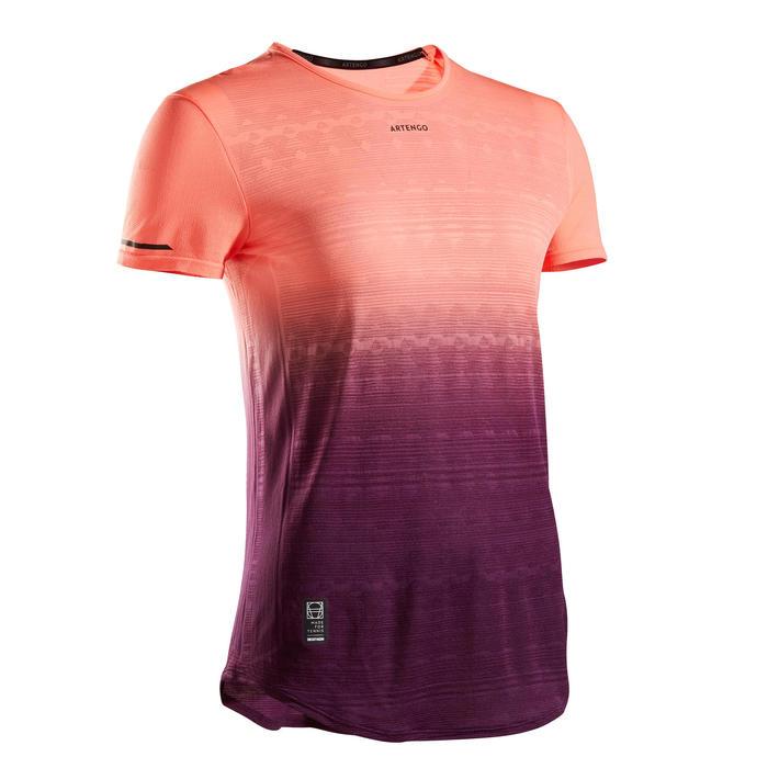 Tennis-T-shirt voor dames TS LIGHT 990 paars koraalrood