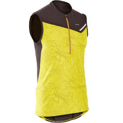 MEN'S PERF TRAIL RUNNING TANK TOP - GREEN/YELLOW