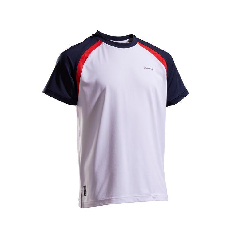 兒童款T恤500-白色及海軍藍配色