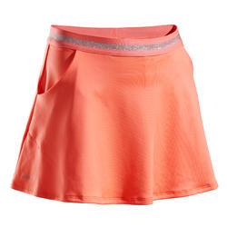 女孩款網球短裙TSK500-珊瑚紅
