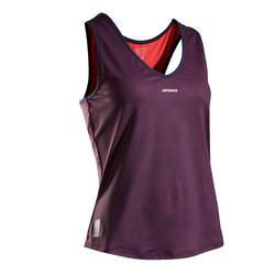 女款快乾網球背心TK Dry 100-海軍藍及粉紅配色