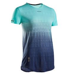 Tennis-T-shirt voor dames TS LIGHT 990 marineblauw turquoise