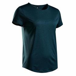 女款網球T恤TS Dry 100-深綠色