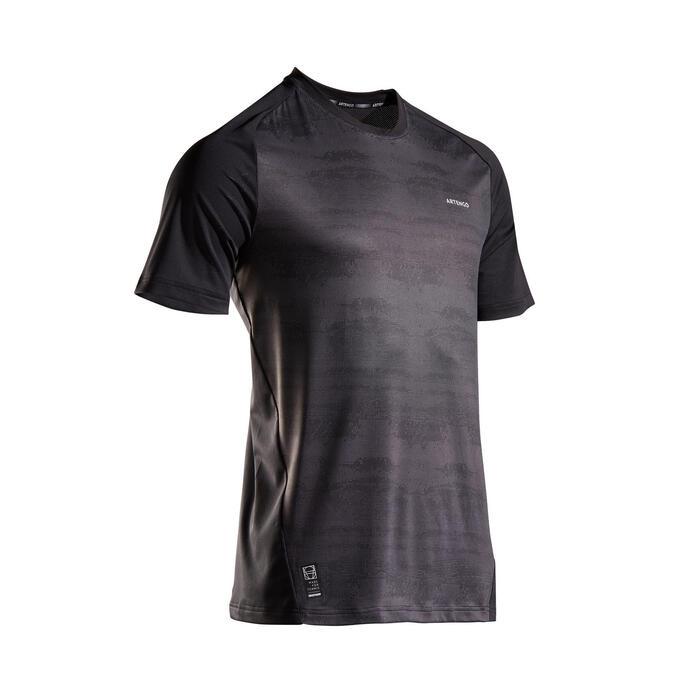 Tennisshirt heren 500 Dry zwart grafisch