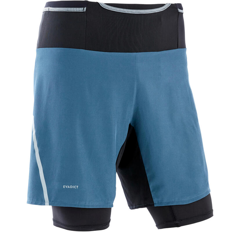 Short met tight voor traillopen heren Comfort grijs