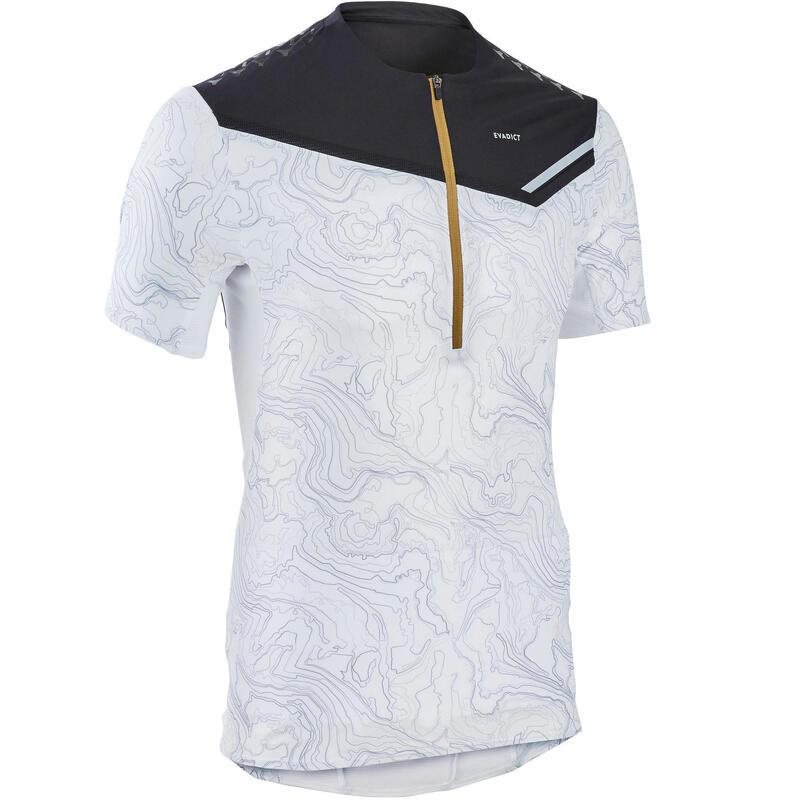 Tee shirt manches courtes trail running zip blanc noir géographique homme