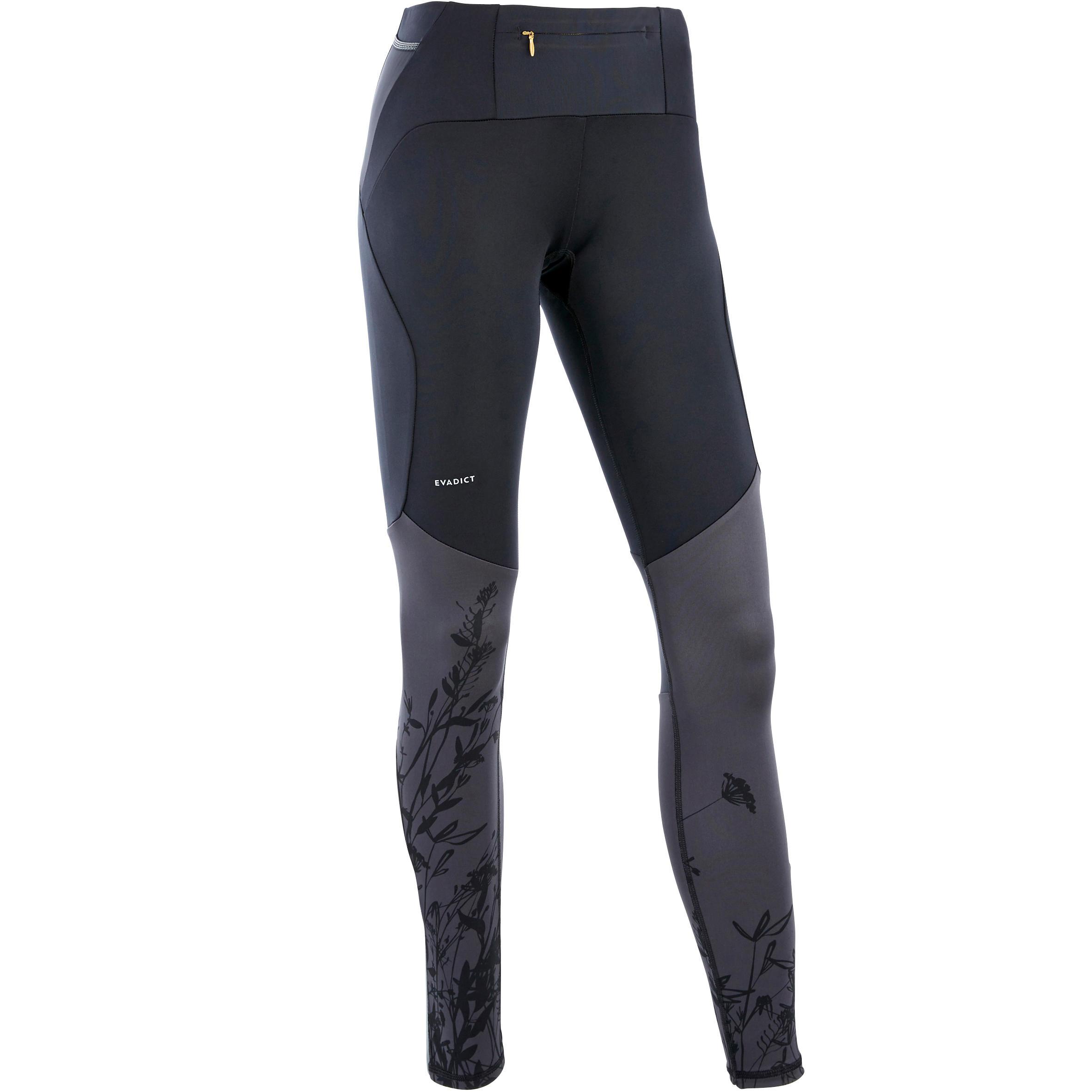 Laufhose lang Tights Trail Damen schwarz/grau Blumenmuster   Sportbekleidung > Sporthosen > Laufhosen   Evadict