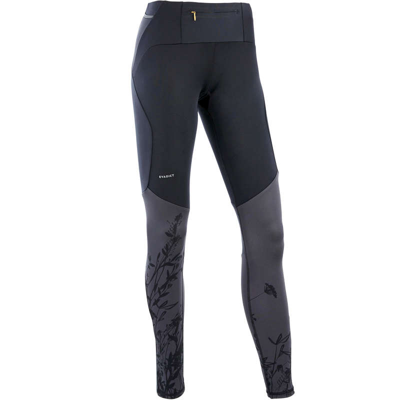 WOMAN TRAIL RUNNING CLOTHES Trail Running - W TRAIL TIGHTS BLACK/FLOWERS EVADICT - Trail Running Clothes