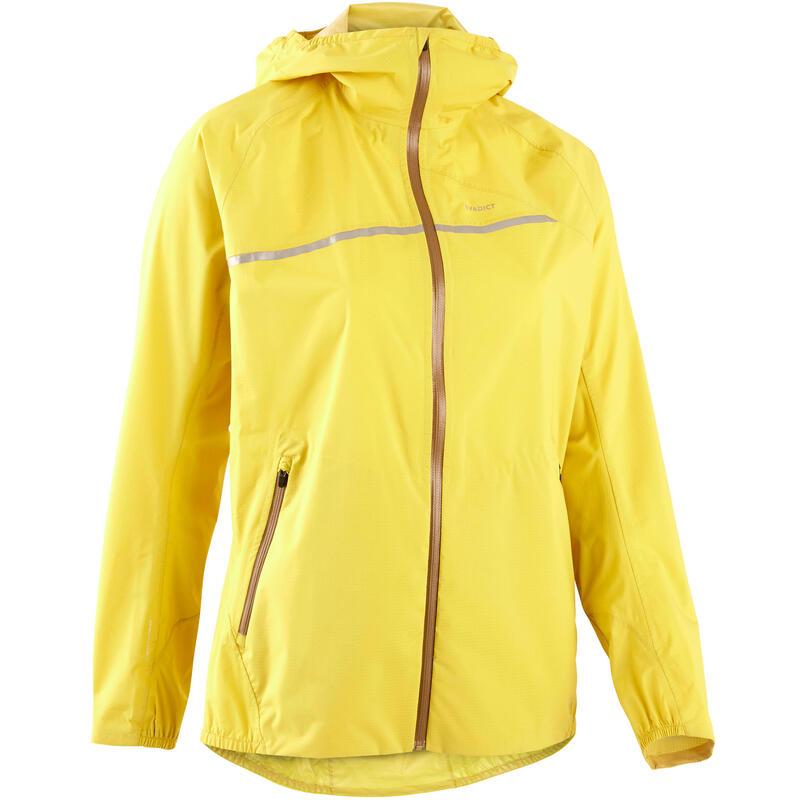 Regenjack voor trailrunning voor dames okergeel