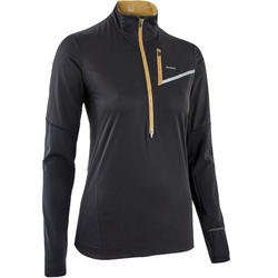 WOMEN'S LONG-SLEEVED SOFTSHELL TRAIL RUNNING TOP - BLACK/BRONZE