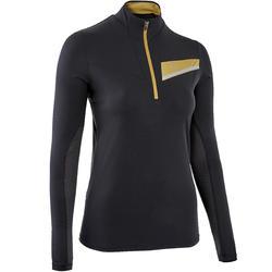 女款越野跑長袖運動衫-黑色配古銅色