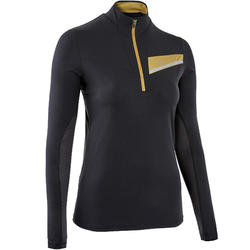 T-shirt manica lunga trail donna nero-bronzo