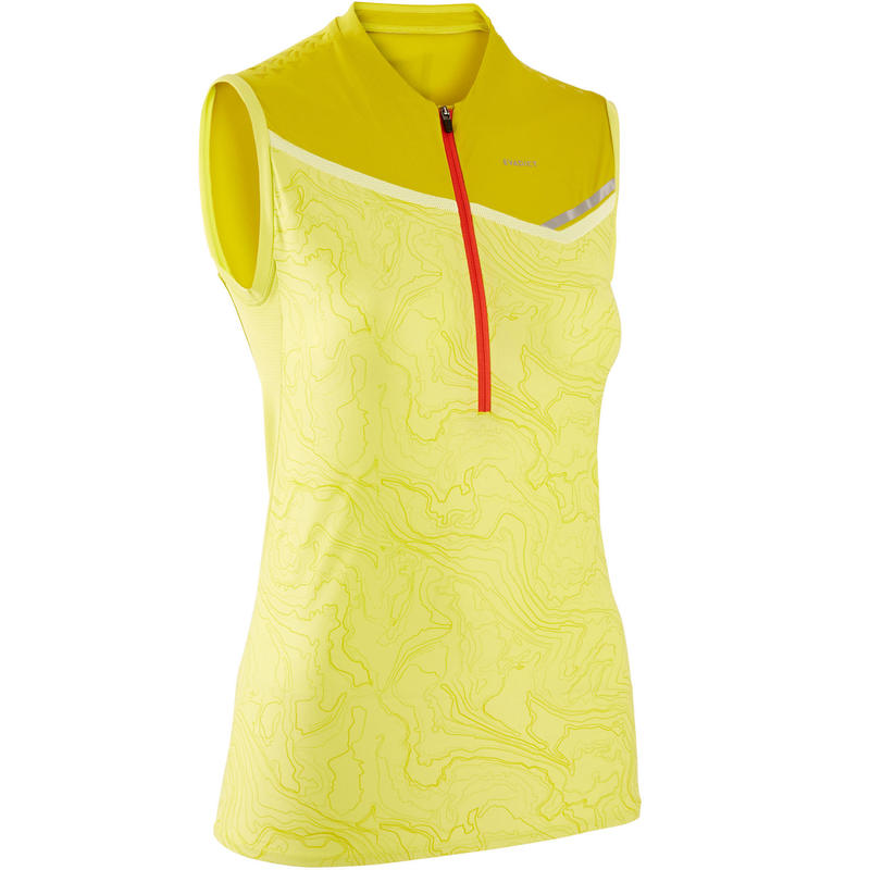 Débardeur trail running femme zip vert jaune