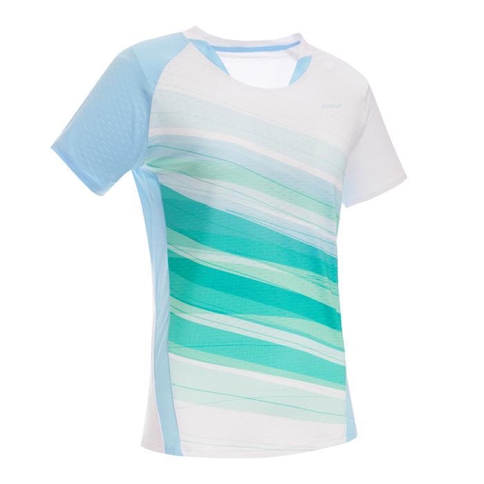 T-Shirt de badminton Femme 560 - Blanc/Vert/Bleu