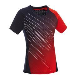 Badmintonshirt voor dames 560 wit/marineblauw/rood