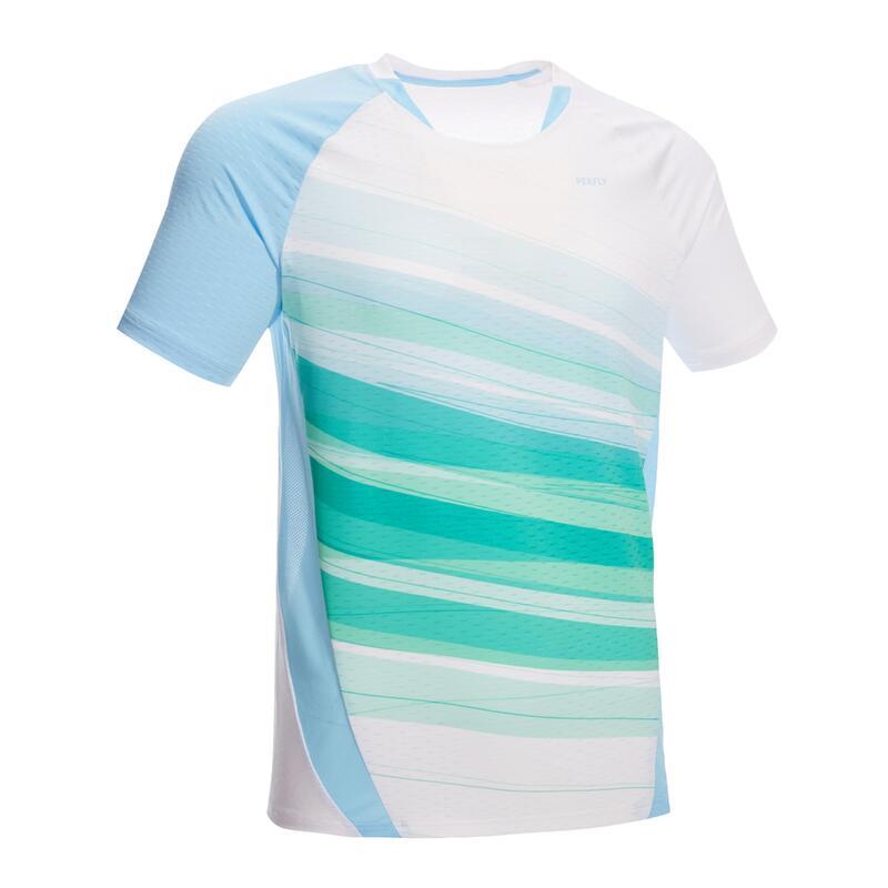 Badminton T-shirt voor heren 560 wit/groen/blauw