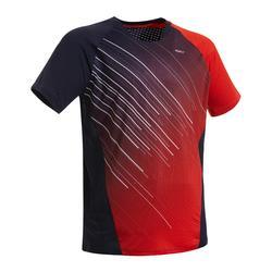 Badmintonshirt voor heren 560 marineblauw/rood
