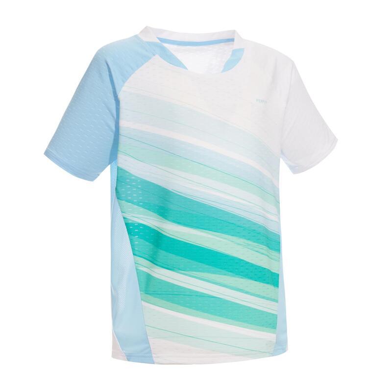 Badmintonshirt voor kinderen 560 wit/groen/blauw