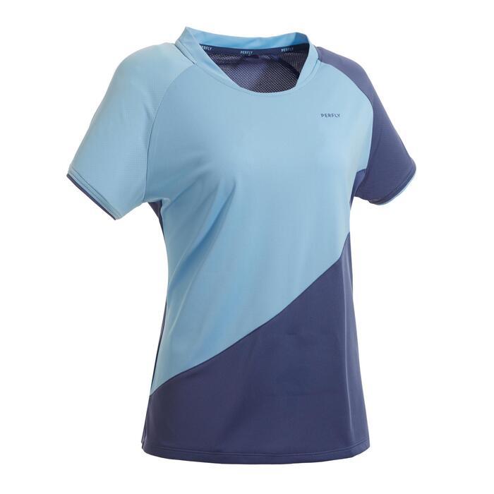 Badmintonshirt voor dames 530 grijs/blauw