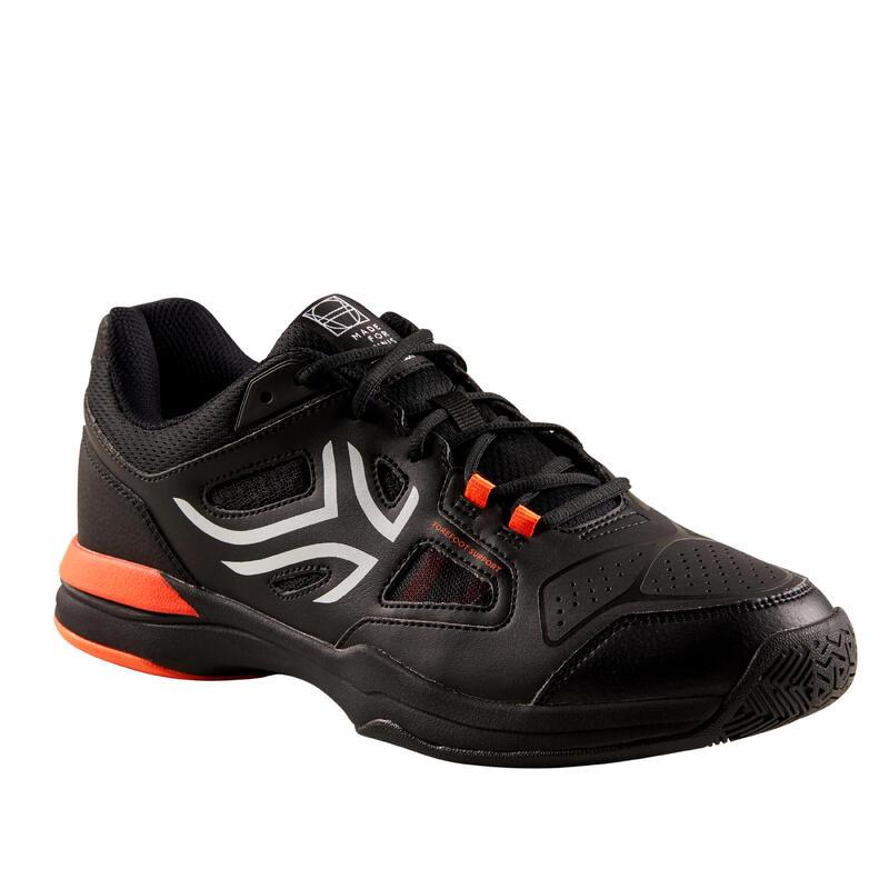 Tennisschoenen voor heren TS500 zwart oranje omni zool