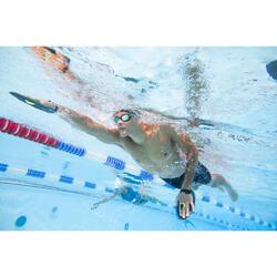 男款長版四角泳褲500-黑黃藍色