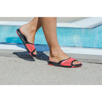 Badslippers zwembad dames Slap 900 zwart/koraalrood