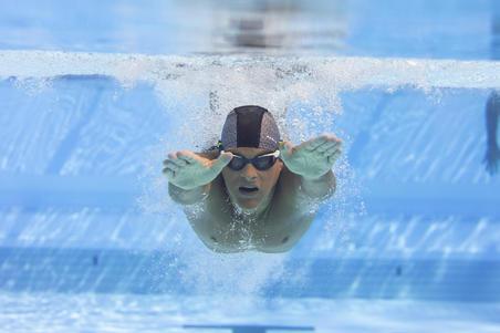 Lunettes de natation 500 Spirit Taille G verres clairs bleu vert