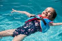 Baby Girls' One-Piece Swimsuit - Dark Blue with Flower Print