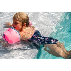 Fato de banho de natação bebé menina azul escuro estampado Flores