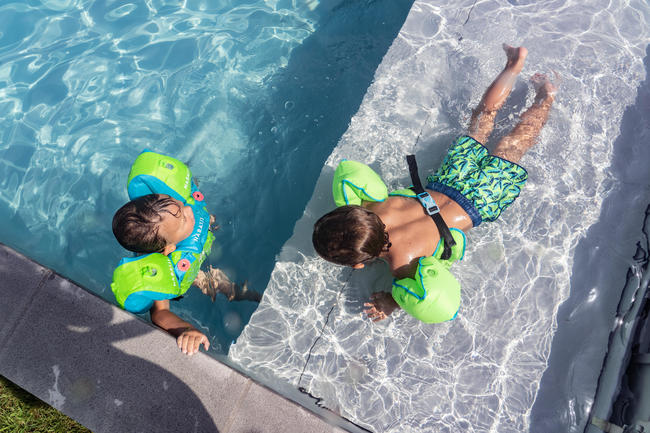 Baby Swimming Shorts - Printed Blue Green