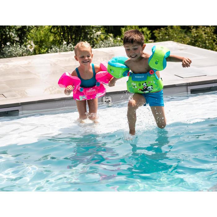 兒童漸進式游泳臂圈腰帶TISWIM - 紫色「獨角獸圖案」印花