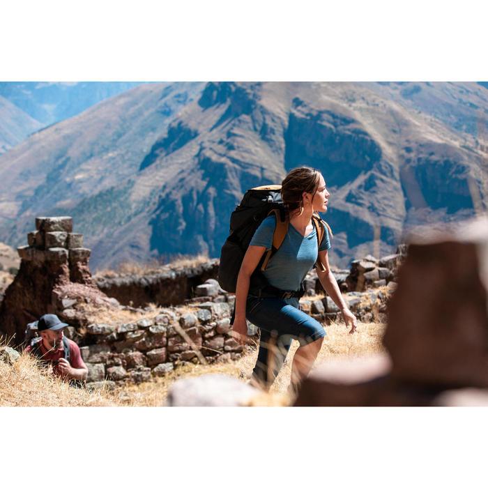 Afritsbroek voor backpacken dames Travel 100 jeansblauw