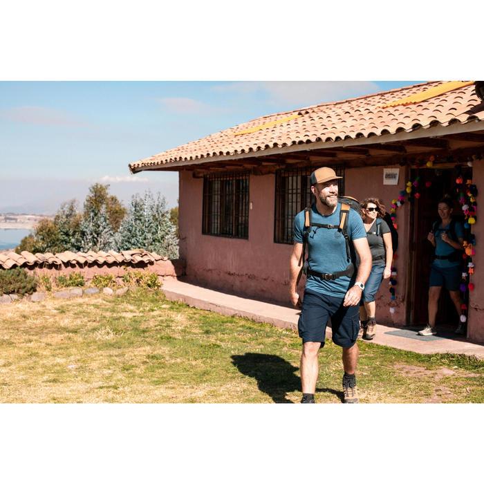 T-shirt laine mérinos de trek voyage - TRAVEL 100 bleu homme