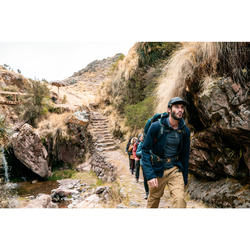 Polo laine mérinos de trek voyage - TRAVEL 500 bleu homme