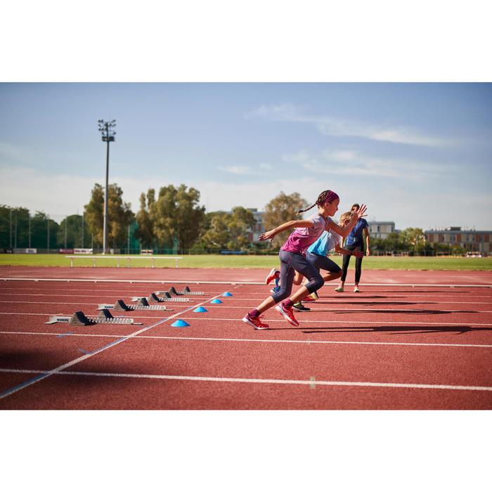 Collant fille 7/8 d'athlétisme AT 500 bleu imprimé