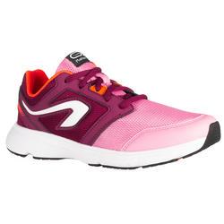 Hardloopschoenen kinderen Run Support met veters roze en bordeaux
