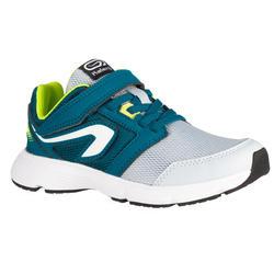 Hardloopschoenen kinderen Run Support klittenband grijs/blauw