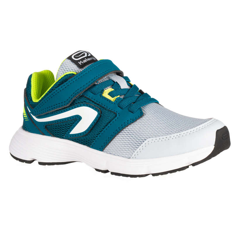 KIDS ATHLETICS SHOES Running - RUN SUPPORT RIP-TABS GREY/BLUE KALENJI - Running Footwear