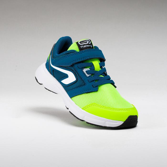 Chaussures enfant d'athlétisme Run Support scratch jaunes et bleues