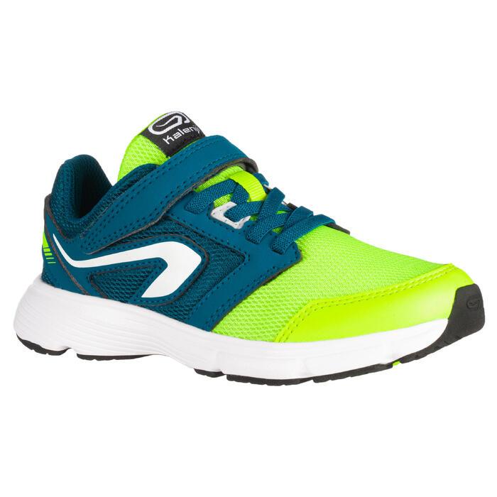 Hardloopschoenen kinderen Run Support klittenband geel/blauw