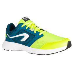 chaussures enfant d'athlétisme Run Support lacet bleues pétrole jaunes fluo